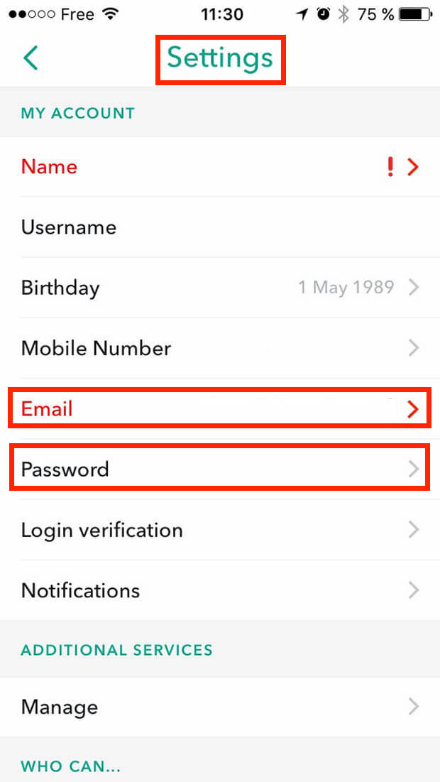 change a snapchat password